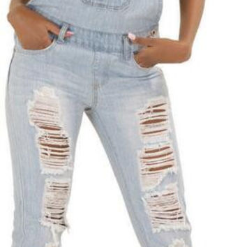 Cotton Holes Boyfriend Style Overalls Long Jumpsuit
