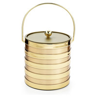 One Kings Lane - Be the Best Guest - Gold Striped Ice Bucket, 3 Qt.