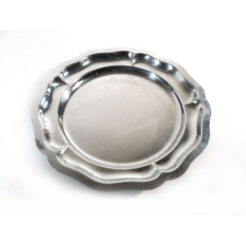 French Stainless Steel Serving Plate, Round Dessert Appetizer Platter, Inox 18% Centerpiece