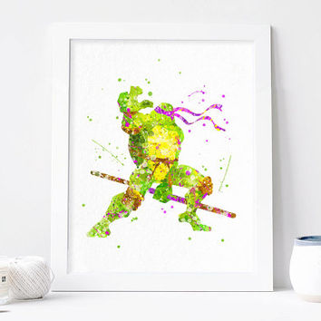 Teenage Mutant Ninja Turtles Donatello Watercolor Print TMNT art tmnt Poster Teenage Mutant Ninja Turtles wall art, ninja turtles wall decor
