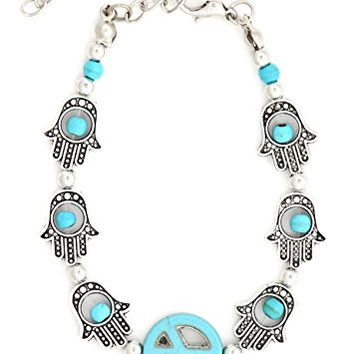 Turquoise Hamsa Peace Sign Bracelet Silver Tone BD58 Hand of Miriam Evil Eye Nazar Fashion Jewelry