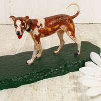 Vintage Dog Model - Retriever Pointer Terrier Statue - Mid Century Plastic Hand Crafted Railroad DIY Kit Figure - Young Boy's Project Piece