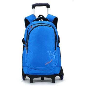 Latest Removable Children School Bags With 3 Wheels Stairs Kids Big boy Trolley Schoolbag Luggage Book Bags Wheeled Backpack