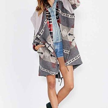 Ecote Asymmetrical Blanket Coat- Grey Multi