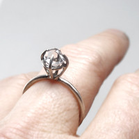 "RING ""Princess"" with Diamond in Sterling Silver. Handmade. Minimalistic, Modern. Promise or Engagement Ring."