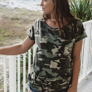 Fighting For Us Camo Top