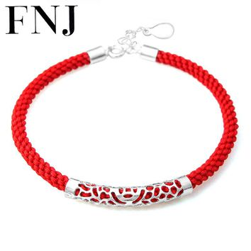 100% Real 925 Sterling Silver Charm Bracelet Red String Rope Chain Bracelets for Lover's New Fashion