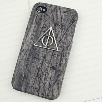Harry potter Deathly Hallows & Wood black case cover for iPhone 4, iPhone 4s,iPhone 4g