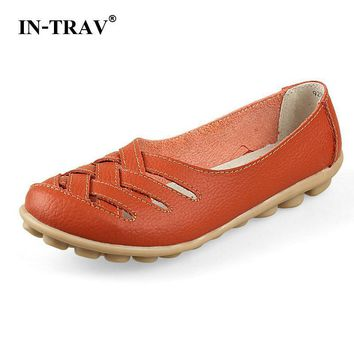 New Female Fashion Split Leather Hollow Out Nurses Working Flats Shoes