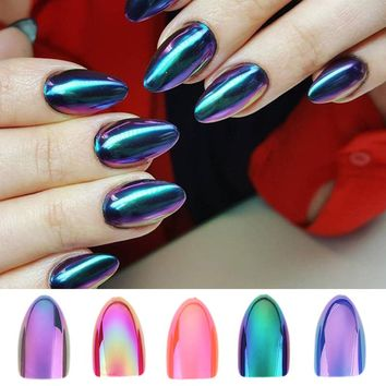 Chrome Nails STILETTO Fake Nail Tips 12pcs/Box Metallic False Nail Art Manicure Press on Nails Mirror Look