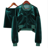 green velvet 2 piece skirt jacket tg