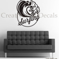 Vinyl Wall Decal Sticker Surf Surfing Waves Sport Extrime Summer Time r1786