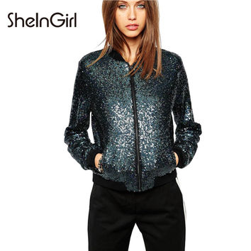 SheInGirl 2017 Spring Sexy bomber jacket women Casual blue Basic Jacket Female Party blingbling Sequin Coat