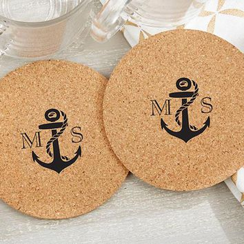 Personalized Round Cork Coasters - Nautical (Set of 12)