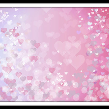 Heart bokeh overlay Pink background Pink heart print Valentine decor printable Pastel photo overlay Purple Sparkly light Instant download