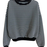 Black and White Stripe Crop Sweater