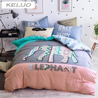 KELUO Cartoon Print Bedding Sets Queen Twin Size Bedlinen 100% Cotton Bedclothes Duvet Cover Set Elephant