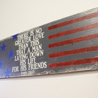 Americana Wood Sign Red White and Blue Wall Decor Primitive Wood Wall Art Greater Love Has No Man Than This Rustic Military Fathers Day