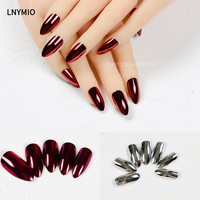 Fashion metal fake nails wine red and silver press on nail tips 24Pcs