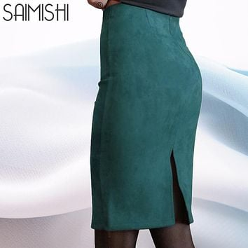 Super Deals Women Suede Solid Color Pencil Skirt Female Spring Autumn Basic High Waist Bodycon Split Knee Length Skirts