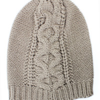 Serpent Cable Knit Mid-Weight Beanie Hat