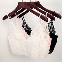 Lace Bralette Zip Deep V Neck Crop Tops Camisoles Strappy Bralet Bustier Halter Crochet