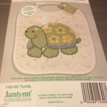 Cross Stitch Bib Kit New Janlynn Neat & Nifty Turtle Bib Kit.
