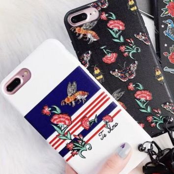 Gucci Bee Flower embroidery Bee shell iPhone8x protective cover full bag anti-drop 7plus south Korean female 6s soft shell hanging rope