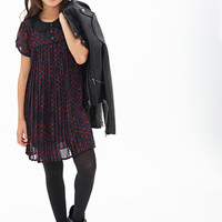 FOREVER 21 GIRLS Pleated Plaid Dress (Kids) Black/Red