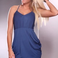 Slate Blue Deep V Neck Crossover Drape Sexy Mini Dress @ Amiclubwear sexy dresses,sexy dress,prom dress,summer dress,spring dress,prom gowns,teens dresses,sexy party wear,women's cocktail dresses,ball dresses,sun dresses,trendy dresses,sweater dresses,tee