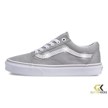Women's Vans Old Skool + Crystals - Drizzle/True White