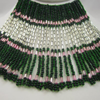Art Deco Fringe Necklace Pink Green Black Beads Waterfall Necklace 1930's Thirties Sterling Clasp Statement Jewelry