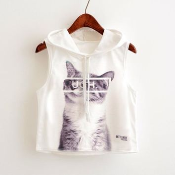 Ugh.. - Cats - Funny - Women Hoodied Crop Top Sweater