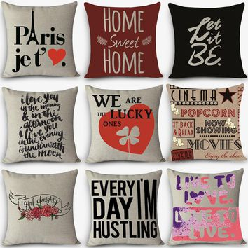 Cheap price High quality home decorative pillow LOVE sweet words Printed 45x45cm pillowcase Vintage Cotton Linen pillows