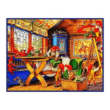 Elves Decorate for Nordic Christmas Jenny Nystrom  Holiday Christmas Counted Cross Stitch Pattern