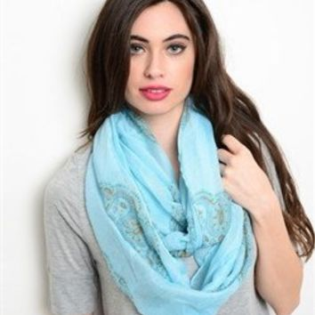 MINT AND PAISLEY PRINT INFINITY SCARF