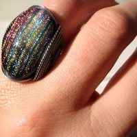 Rainbow Ring, Dichroic Fused Glass, Recycled Oxidized Silver