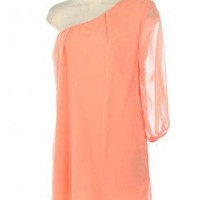 LOVELY CHIFFON DRESS WITH ONE SHOULDER WITH 3/4 SLEEVE LENGTH