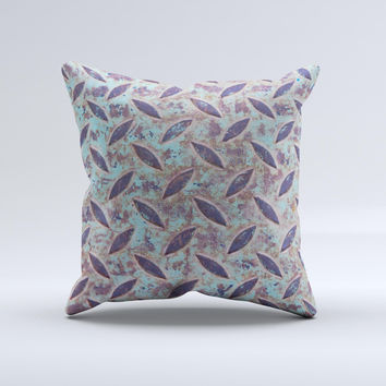 Rusted Blue Diamond Plate ink-Fuzed Decorative Throw Pillow