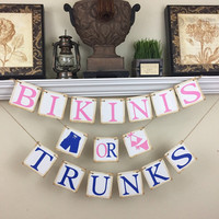 Bikinis or Trunks Banner, Gender Reveal banner, Rustic Baby Shower Decor, Baby Shower Decorations, Pink and Royal Blue
