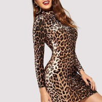 Velvet Cheetah Print Dress