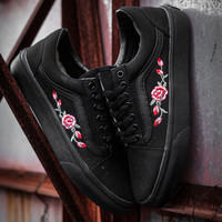 Trendsetter VANS Canvas Old Skool Flower Embroidery Flats Shoes Sneakers Sport Shoes