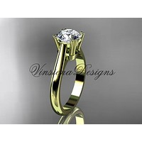 "14kt yellow gold wedding ring, engagement ring, ""Forever One"" Moissanite VD10058"