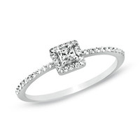 1/4 CT. T.W. Princess-Cut Diamond Framed Promise Ring in 10K White Gold - View All Rings - Zales