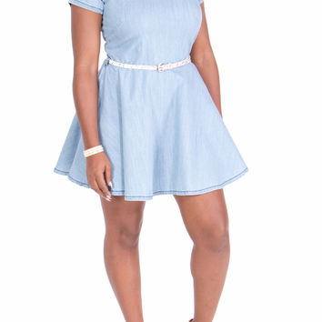 Sexy Stretch Denim Flare Bottom Collared Skater Dress (Light)