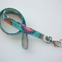 Lanyard  ID Badge Holder - teal flower medallions - THINNER design  - Lobster clasp and key ring