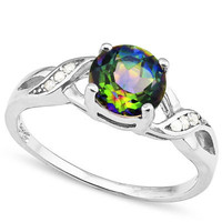 Genuine Mystic Rainbow Topaz Round Twist Sterling Silver Ring