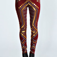Carina Deco Print Metallic Leggings