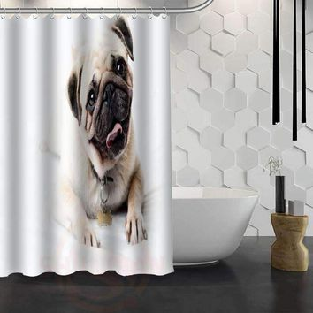 New Happy Pug Dog Custom Shower Curtain Waterproof Fabric Bath Curtain for Bathroom WJY1.17