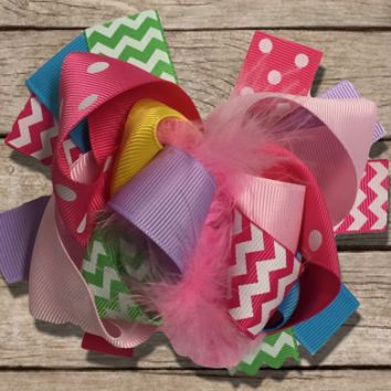 "Chevron 6"" Korker Marabou Feather Hair Bow"